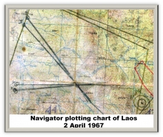 100 Navigator plotting chart over Laos April 2 1967