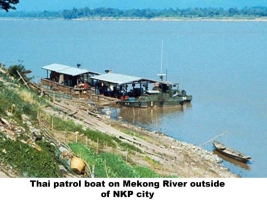 Mekon River embankment at NKP City with Thai patrol boat